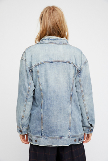 Slide View 3: Long Denim Jacket