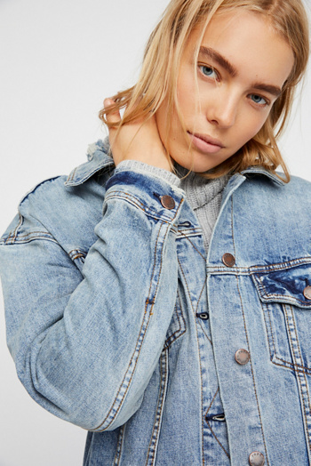 Slide View 5: Long Denim Jacket
