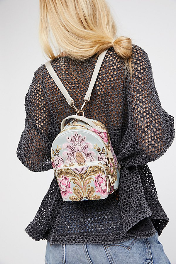 Slide View 5: Brocade Floral Mini Backpack