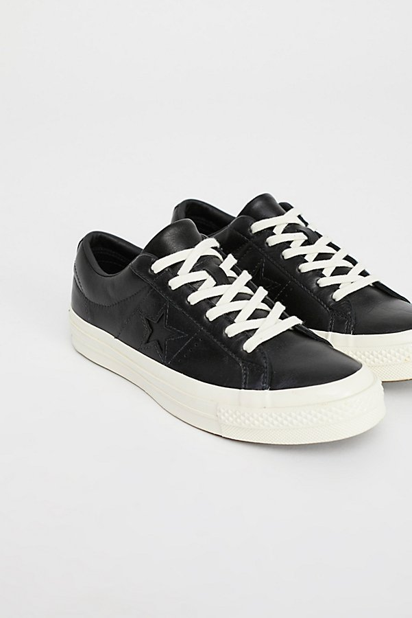 Slide View 2: Premium Leather Low Top Trainers