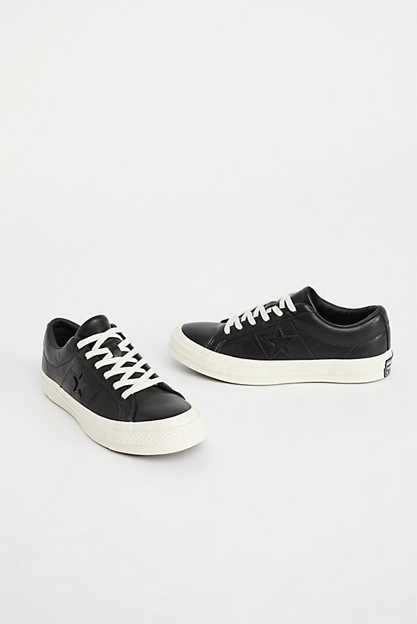 Slide View 3: Premium Leather Low Top Trainers