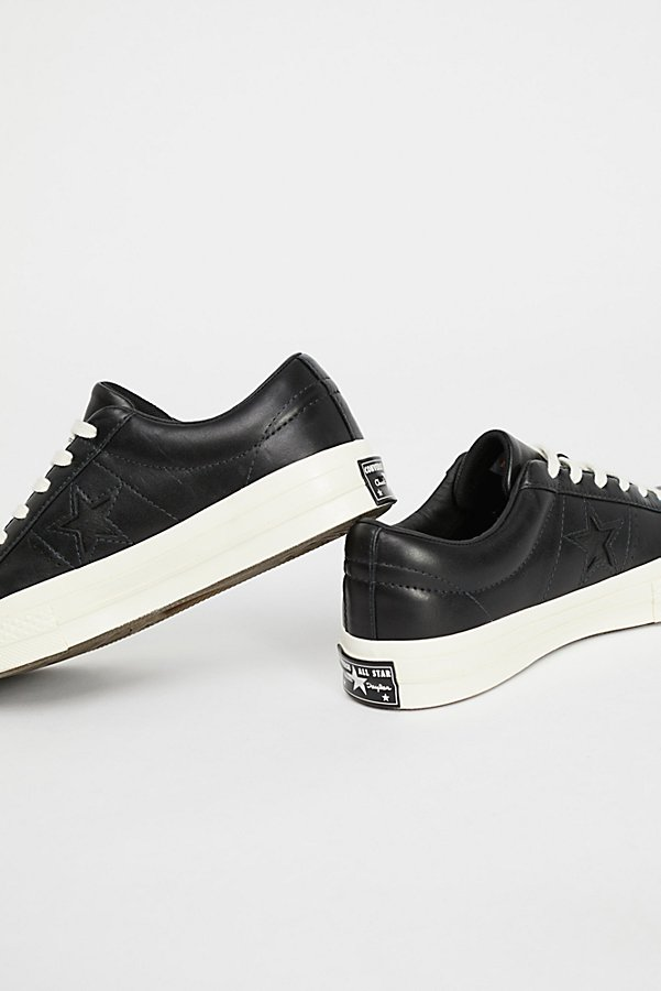 Slide View 4: Premium Leather Low Top Trainers