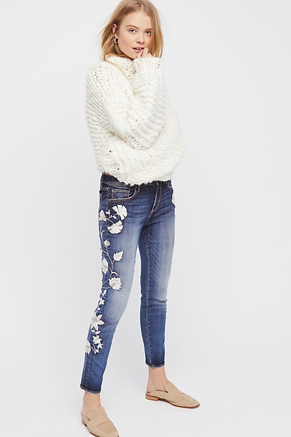 Slide View 2: Jackie Embroidered Skinny Jeans
