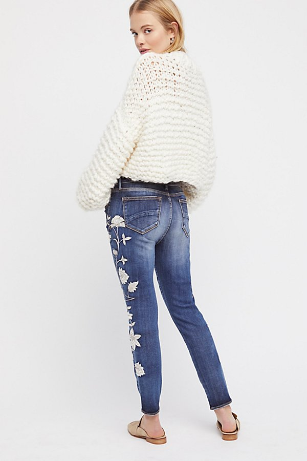 Slide View 3: Jackie Embroidered Skinny Jeans