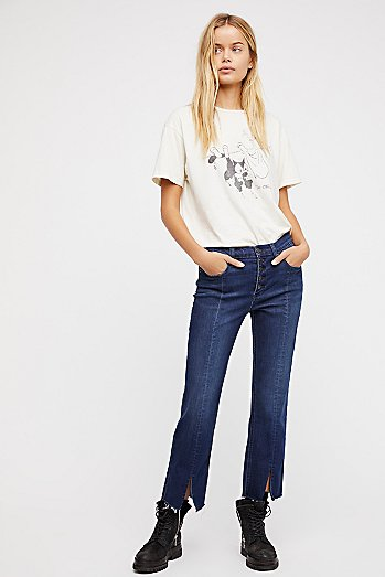 Crop Button Front Jeans