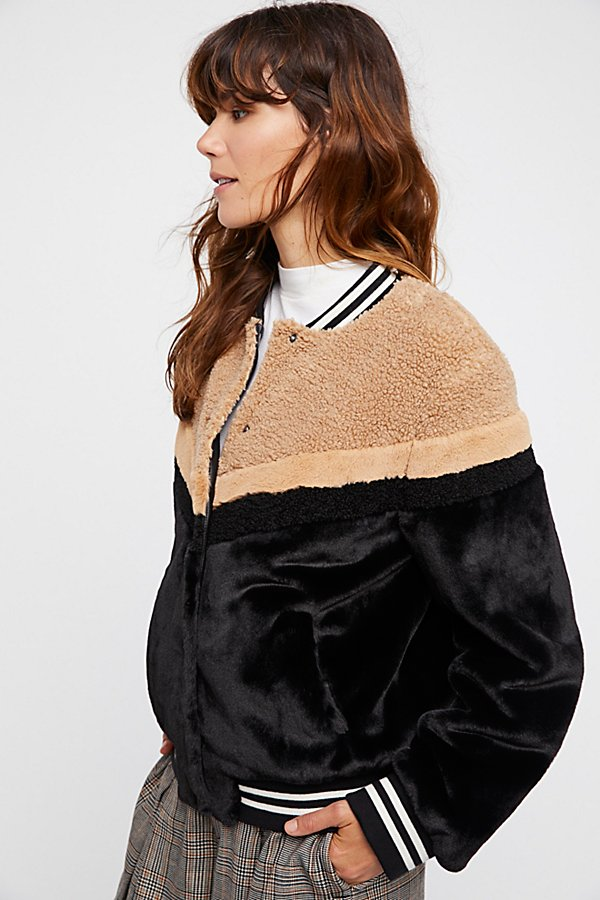 Slide View 2: Mixed Faux Fur Bomber