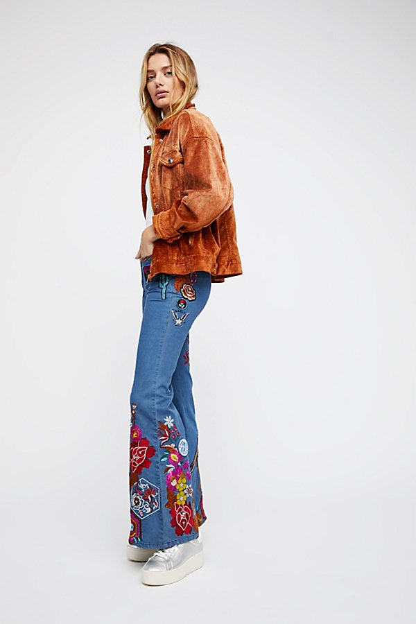 Slide View 1: Flower Child Denim Flares