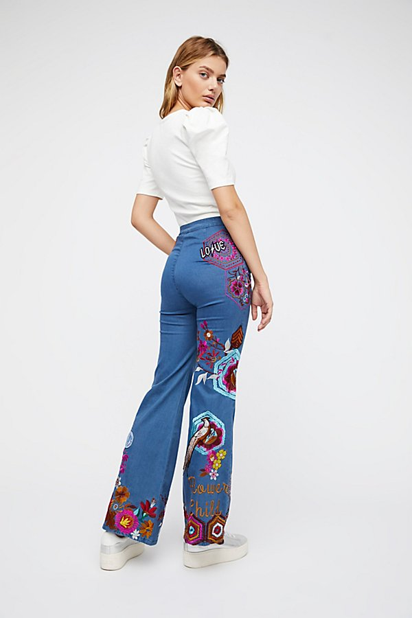 Slide View 3: Flower Child Denim Flares