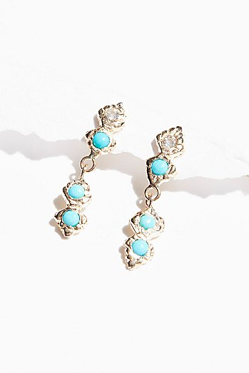 14k Light Ray Sapphire Turquoise Earrings