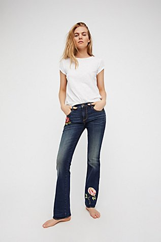Kelly Embroidered Baby Bootcut Jeans | Free People