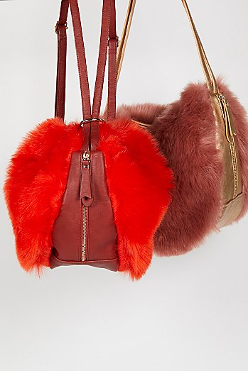 Faux Fur Convertible Backpack