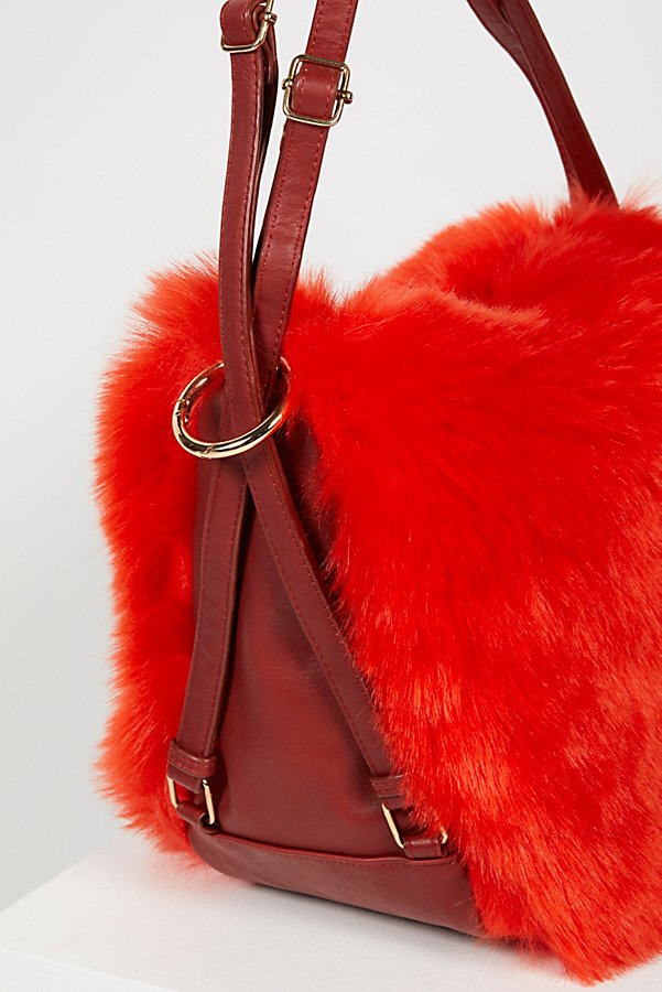 Slide View 3: Faux Fur Convertible Backpack