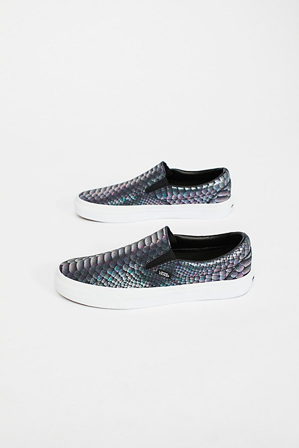 Slide View 2: Classic Slip-On Metallic Snake Trainer