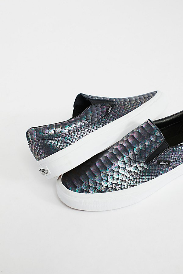 Slide View 4: Classic Slip-On Metallic Snake Trainer