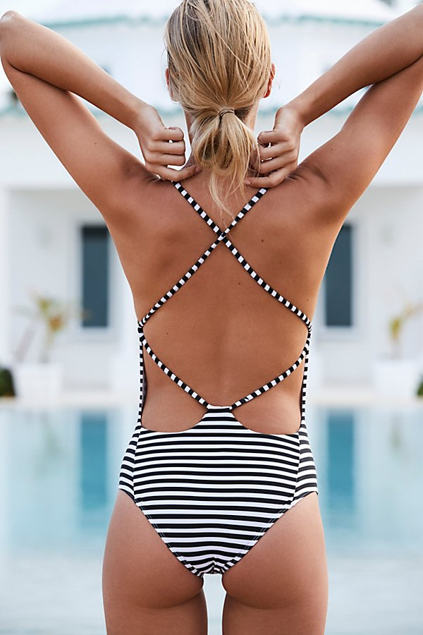Slide View 1: Farrah One Piece Striped Swimsuit