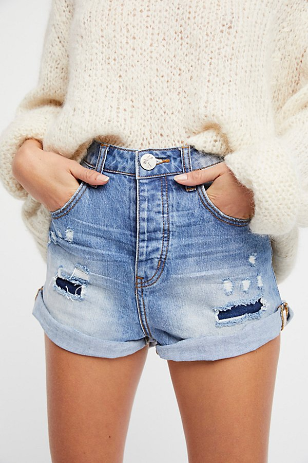 Slide View 3: High-Rise Bandit Denim Shorts