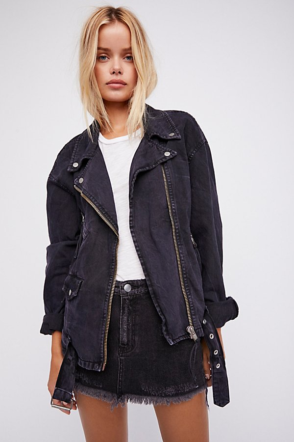Slide View 1: Oversized Denim Moto Jacket
