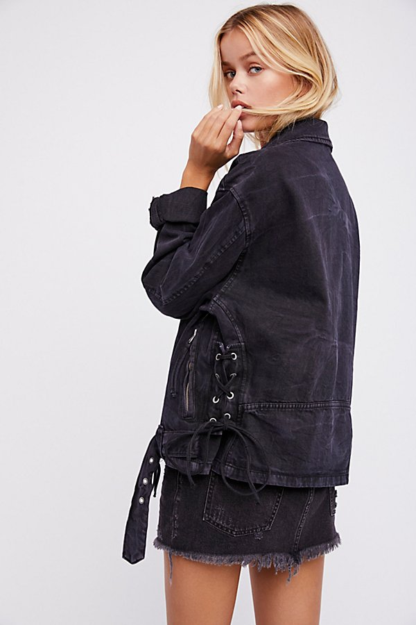 Slide View 2: Oversized Denim Moto Jacket