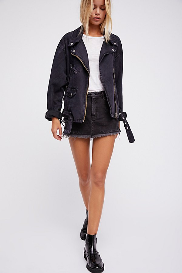 Slide View 3: Oversized Denim Moto Jacket