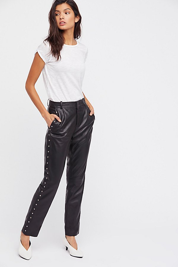 Slide View 3: Studded Leather Pants