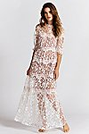 Thumbnail View 1: Rosebud Embroidered Mesh Maxi Dress