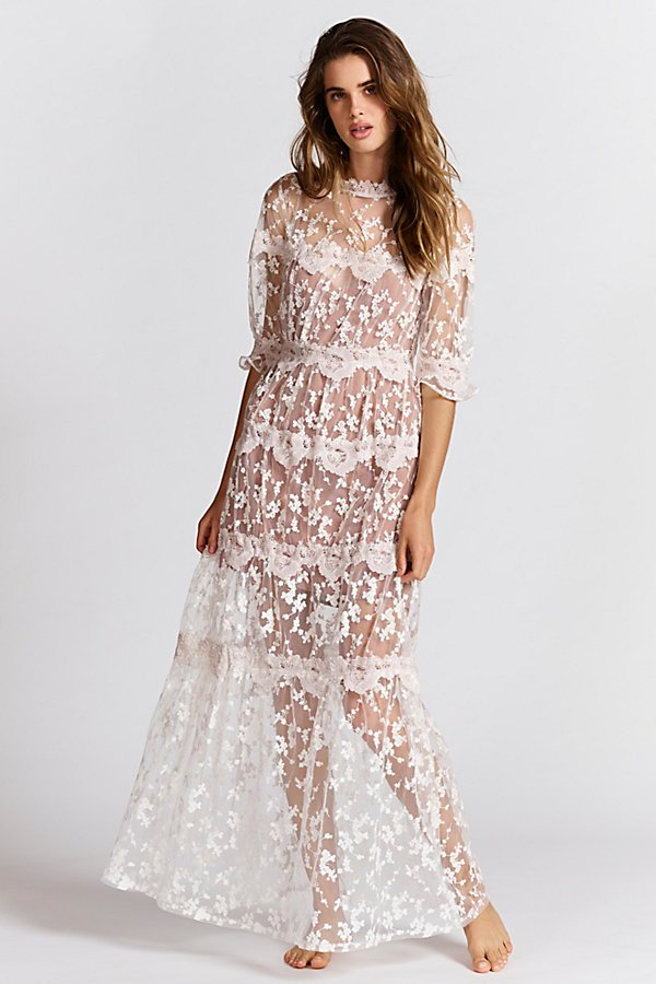 Slide View 1: Rosebud Embroidered Mesh Maxi Dress