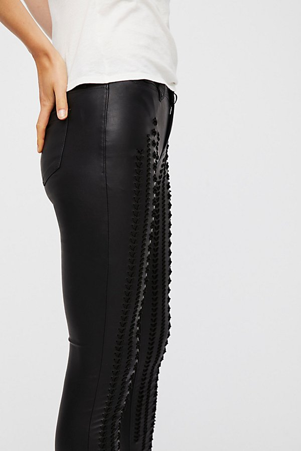 Slide View 1: Vegan Leather Lattice Skinny Pants