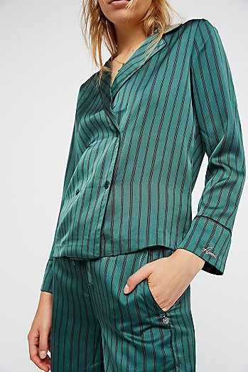 Striped Silky Suit
