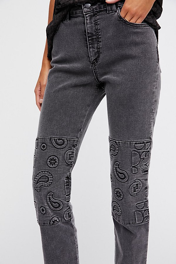 Slide View 3: Embossed Paisley Patti Straight Jeans