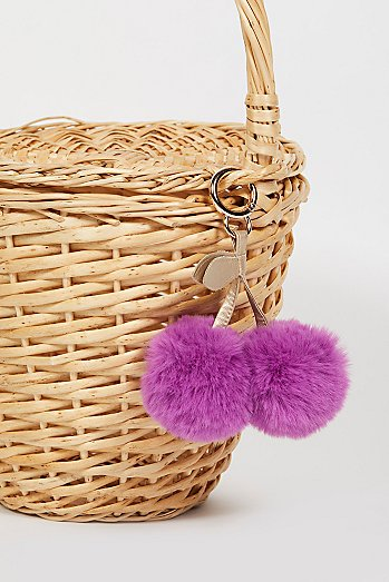 Faux Fur Cherry Pompom Bag Charm