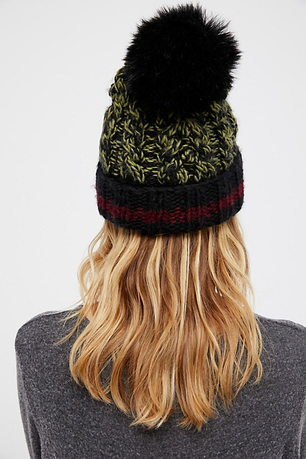 Slide View 3: Happy Trails Stripe Pom Beanie