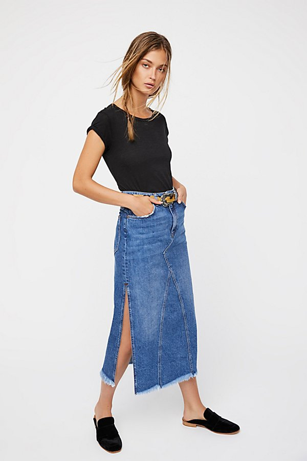 Slide View 1: Walk in the Park Denim Midi Skirt