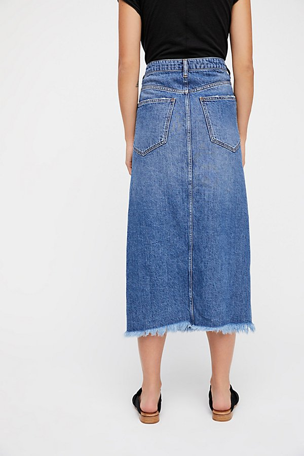 Slide View 2: Walk in the Park Denim Midi Skirt