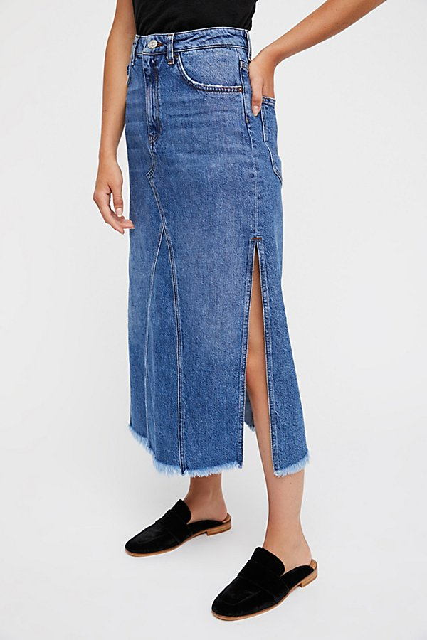 Slide View 3: Walk in the Park Denim Midi Skirt
