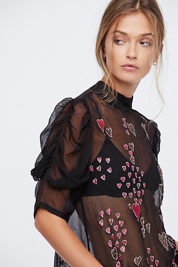 Slide View 4: So In Love Embroidered Blouse