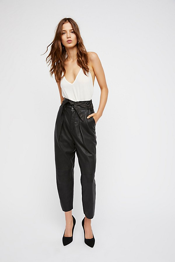 Slide View 2: Nightfall Cropped Leather Trousers