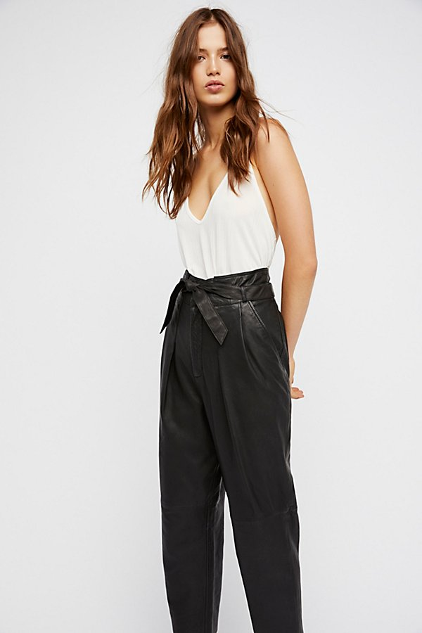 Slide View 4: Nightfall Cropped Leather Trousers