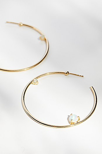 14k Holy Fire Opal Hoops