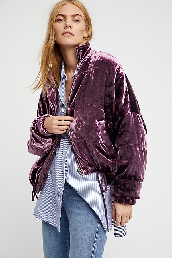 Slide View 1: Cropped Velvet Puffer