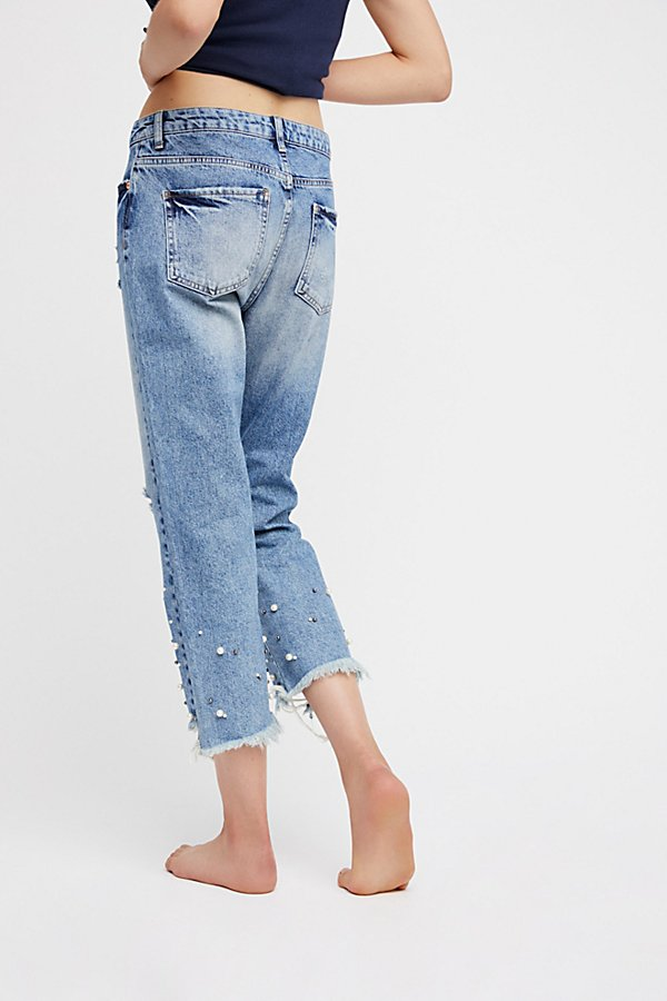 Slide View 4: Pearl Crop Straight Leg Jeans