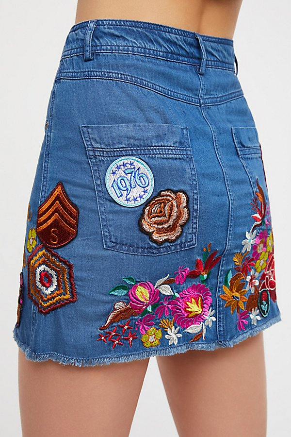 Slide View 4: Flower Child Denim Skirt