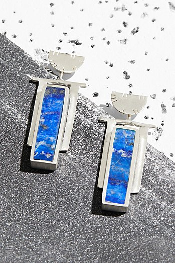 Sterling Art Deco Inlaid Stone Earrings