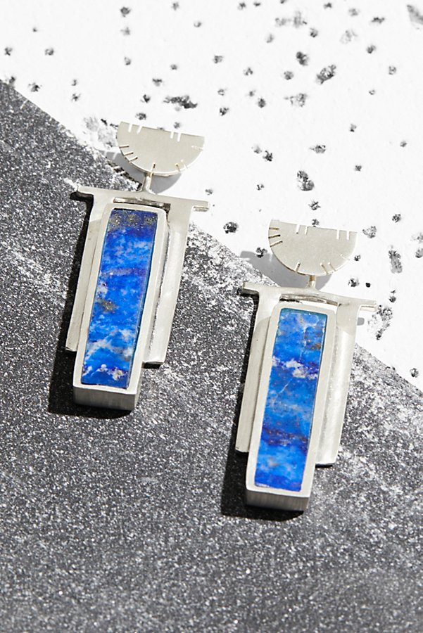 Slide View 1: Sterling Art Deco Inlaid Stone Earrings