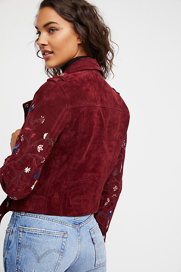 Slide View 2: Embroidered Suede Moto