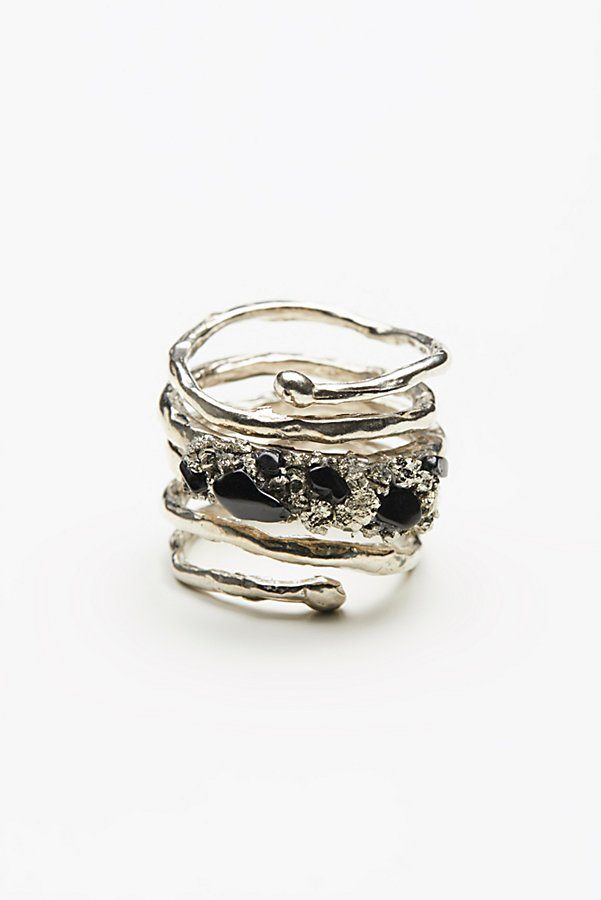 Slide View 2: Twisted  Raw Stones Ring