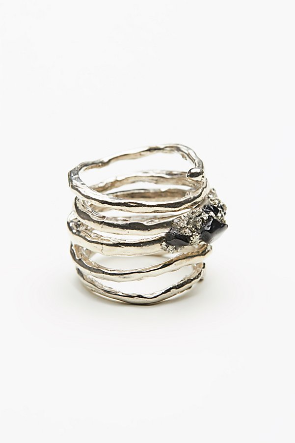 Slide View 3: Twisted  Raw Stones Ring
