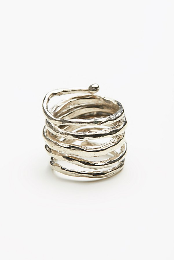 Slide View 4: Twisted  Raw Stones Ring