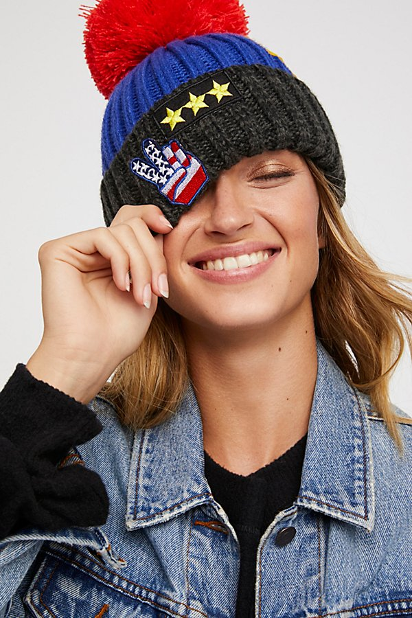 Slide View 1: Happy Place Patched Pom Beanie
