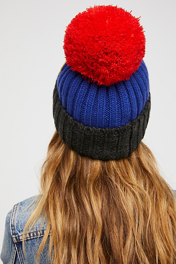 Slide View 2: Happy Place Patched Pom Beanie