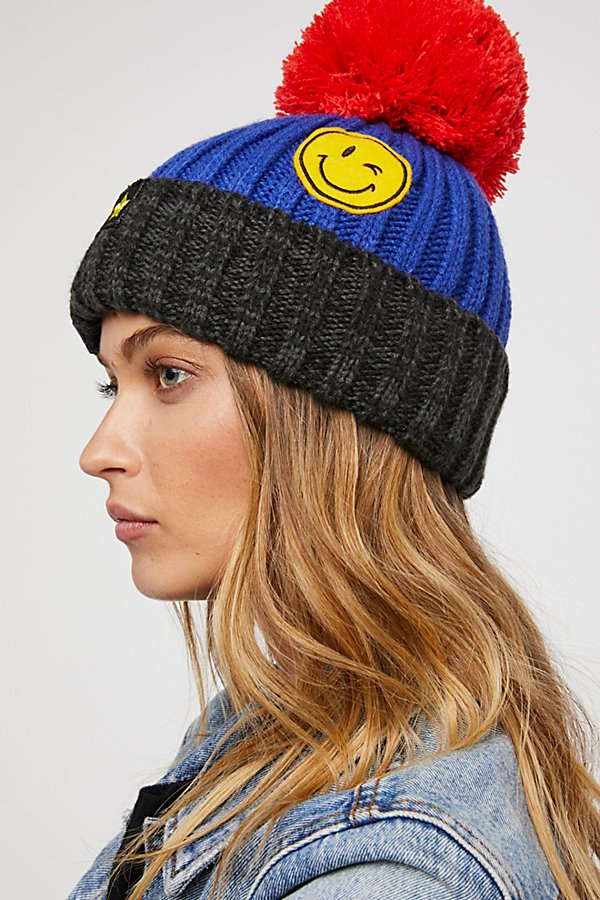 Slide View 3: Happy Place Patched Pom Beanie